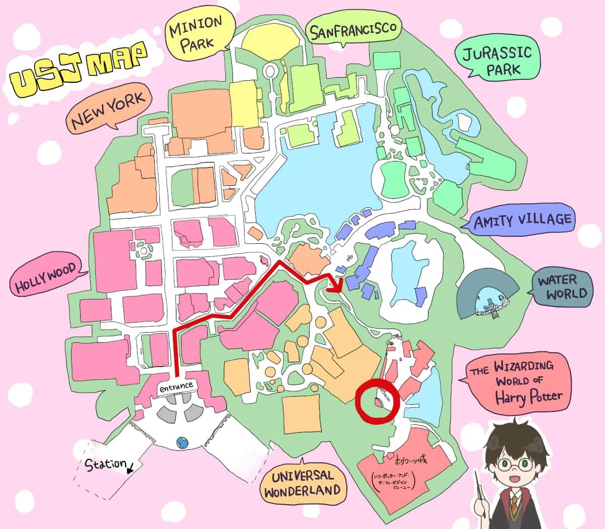 ハリーポッターエリアの地図