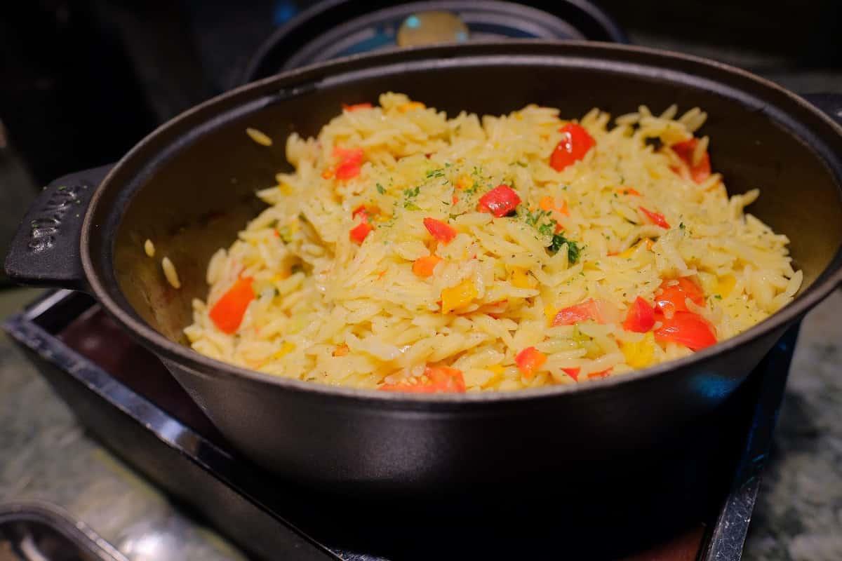 彩り野菜とリゾーニ